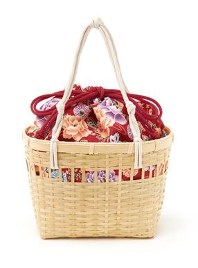 花柄巾着付浴衣カゴバッグ
