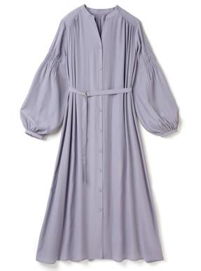 ベルト付きサテンシャーリング袖ワンピース