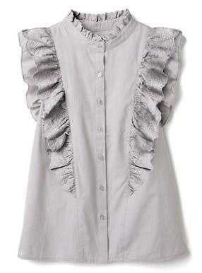 花柄刺繍フリルノースリーブシャツ