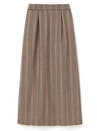 ヘリンボーンストライプウエストパイピングスカート