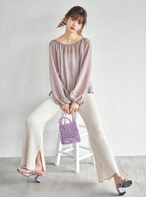 ワッフル編みニットフレアパンツ