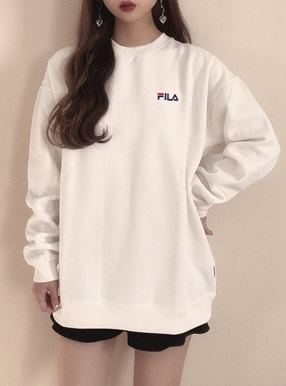 GRL FILA 裏起毛ロゴ入りBIGスウェットトップス