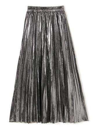 メタリックプリーツロングスカート