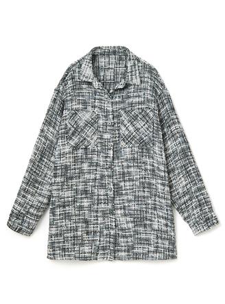 ツイードチェックポケット付きシャツジャケット