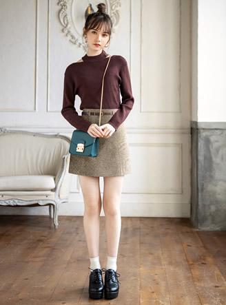 インパン・ベルト付きヘリンボーンミニスカート