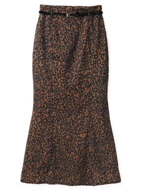 ベルト付きレオパードマーメイドスカート