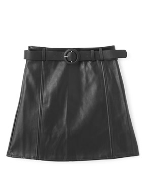 インパン・ベルト付レザースカート