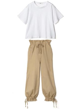 Tシャツ×ドロストパンツ2点セットアップ