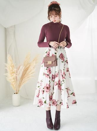 ベルト付きフラワープリーツスカート