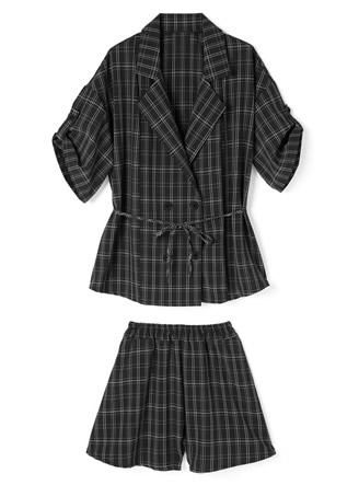 リボン付き半袖ジャケットXショートパンツセットアップ
