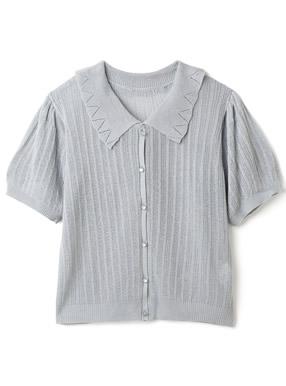 襟付きパフスリーブ透かし編みカーディガン