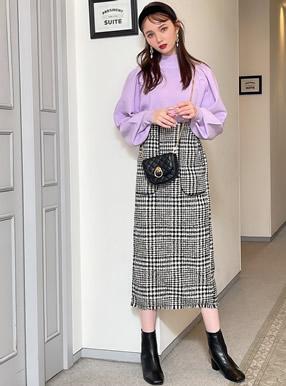 グレンチェックツイードパイピングロングタイトスカート