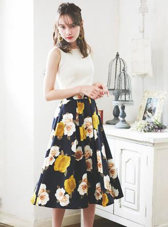 グログラン花柄フレアスカート