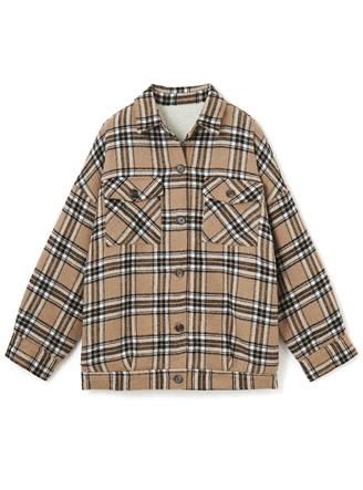 裏ボアチェックシャツジャケット