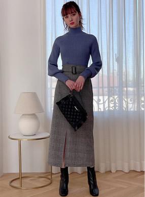 ベルト付きチェック柄フロントスリットロングタイトスカート