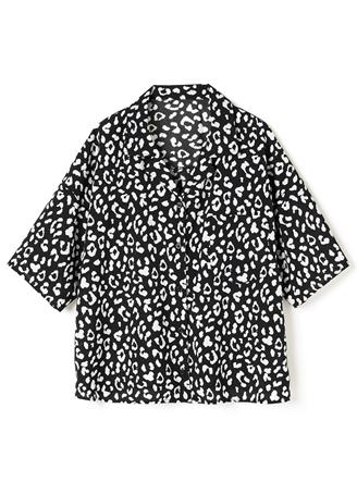 レオパードテーラードカラーシャツ