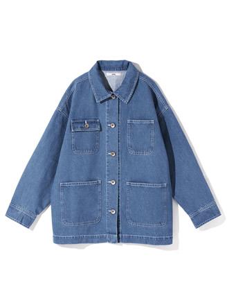 デニムビッグカバーオールジャケット