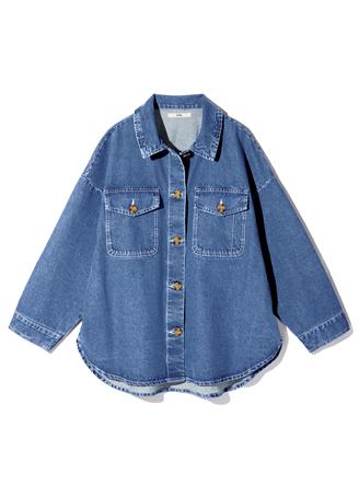 オーバーサイズデニムフラップポケットシャツジャケット
