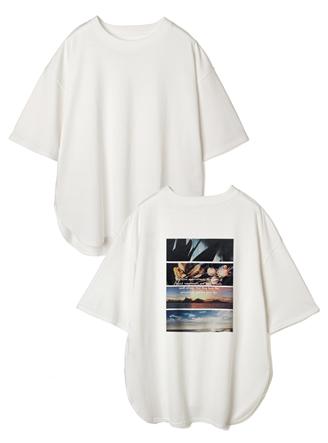 ラウンドヘムバックフォトプリントTシャツ