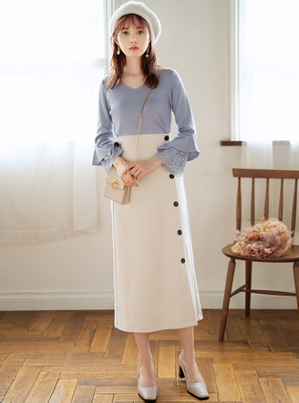スウェードサイドボタンセミタイトスカート