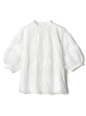 シースルー刺繍プチハイネックブラウス