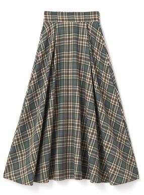チェックロングフレアスカート