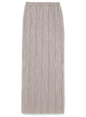 サテンミニプリーツタイトロングスカート