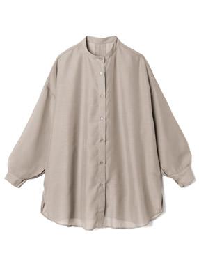 バックオープンバンドカラーシアーシャツ