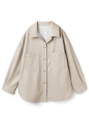 フェイクレザーオーバーサイズシャツジャケット