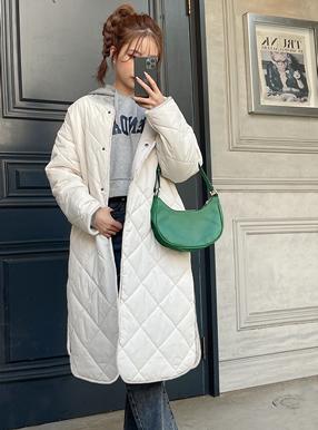 キルティングサイドスリットロングジャケット