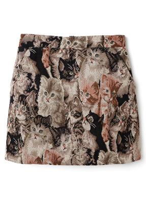 インパン付きゴブラン織ネコ柄ミニスカート