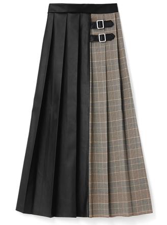 チェックXレザー切り替えプリーツスカート