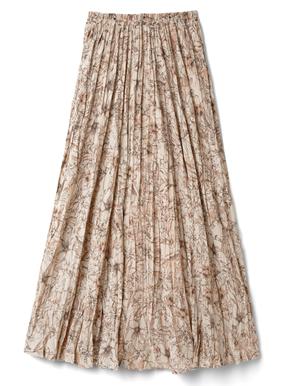 ランダムプリーツフラワープリントスカート