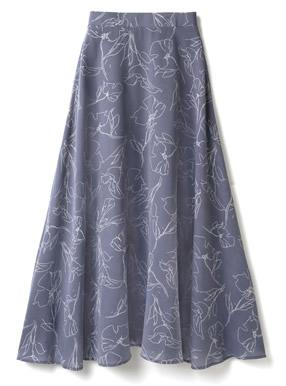手書き風花柄フレアスカート