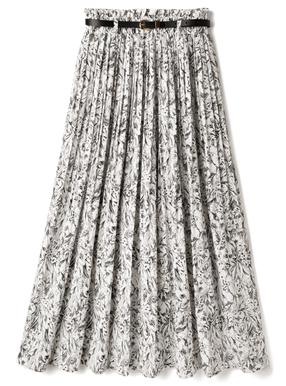 ベルト付き花柄消しプリーツスカート