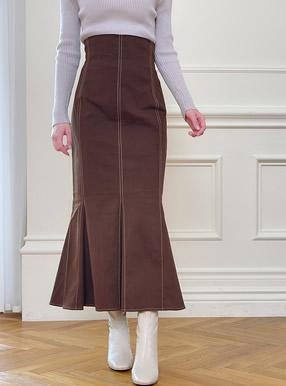 配色ステッチハイウエストマーメイドスカート