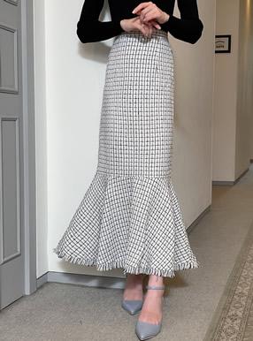 フリンジツイードマーメイドスカート