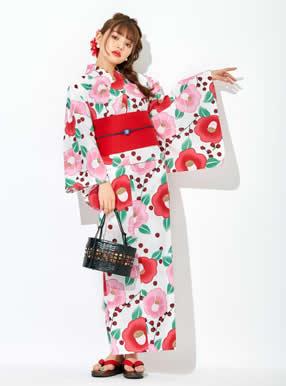 4点セット古典椿浴衣