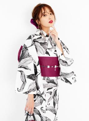 4点セット手書き風モノトーン百合浴衣