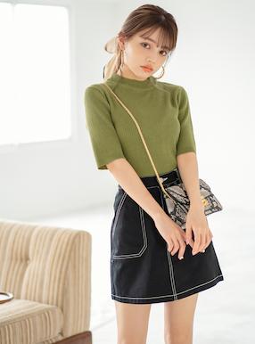 配色ステッチポケットデザイン台形スカート