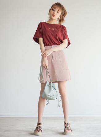 カラープリント台形スカート