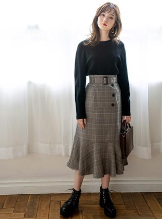 ベルト付きチェックマーメイドスカート