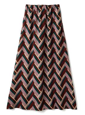 幾何学柄ロングスカート