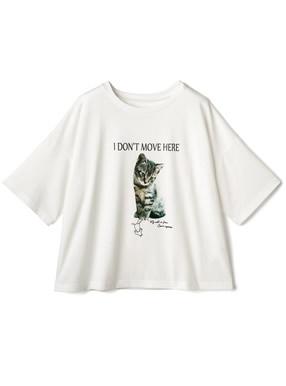 猫プリントショート丈Tシャツ