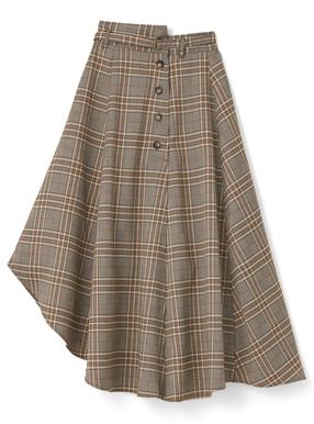 ベルト付きアシメントリーチェック柄スカート