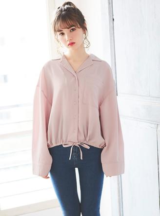 オープンカラー裾ドロストシャツ