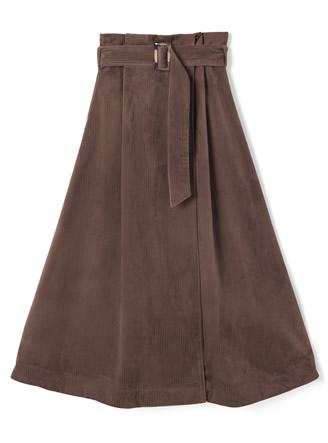 ベルト付きコーデュロイロングスカート