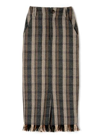 フリンジヘムチェックタイトスカート