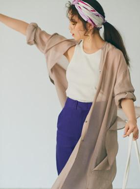 今田美桜 ロングシアーシャツワンピース