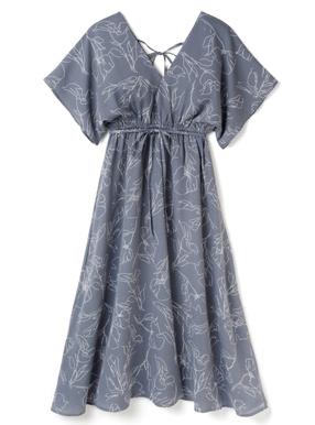 白石麻衣 フレアスリーブ花柄カシュクールワンピース